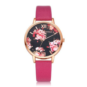 Watches-Hot Pink-PU Leather Floral Background Watch for a Woman's Vegan Lifestyle