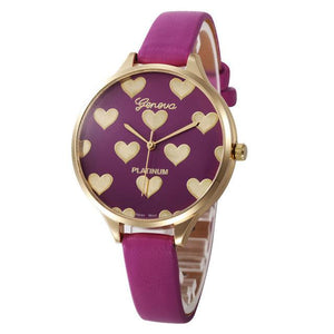Watches-Hot pink-PU Leather Heart Pattern Watch by Geneva for a Woman's Vegan Lifestyle