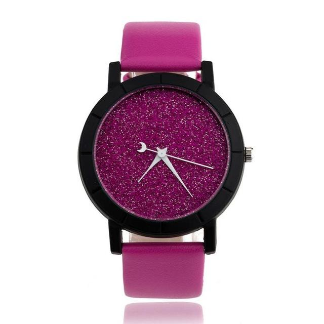 Watches-Hot Pink-PU Leather Moon Hand Watch for a Woman's Vegan Lifestyle