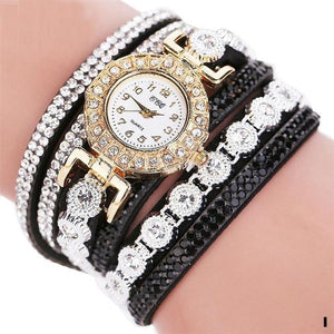 Watches-i-PU Leather Multi-layer Rhinestone Bracelet Watch for a Woman's Vegan Lifestyle