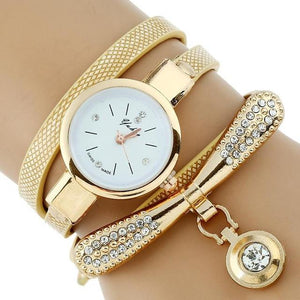 Watches-Ivory-PU Leather Rhinestone Bracelet Watch for a Woman's Vegan Lifestyle