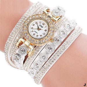 Watches-j-PU Leather Multi-layer Rhinestone Bracelet Watch for a Woman's Vegan Lifestyle
