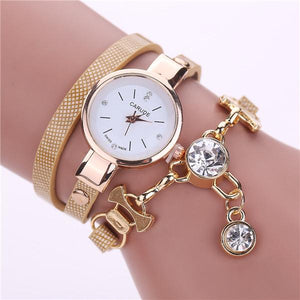 Watches-khaki-PU Leather Bracelet & Crystal Pendant Watch by Carude for a Woman's Vegan Lifestyle