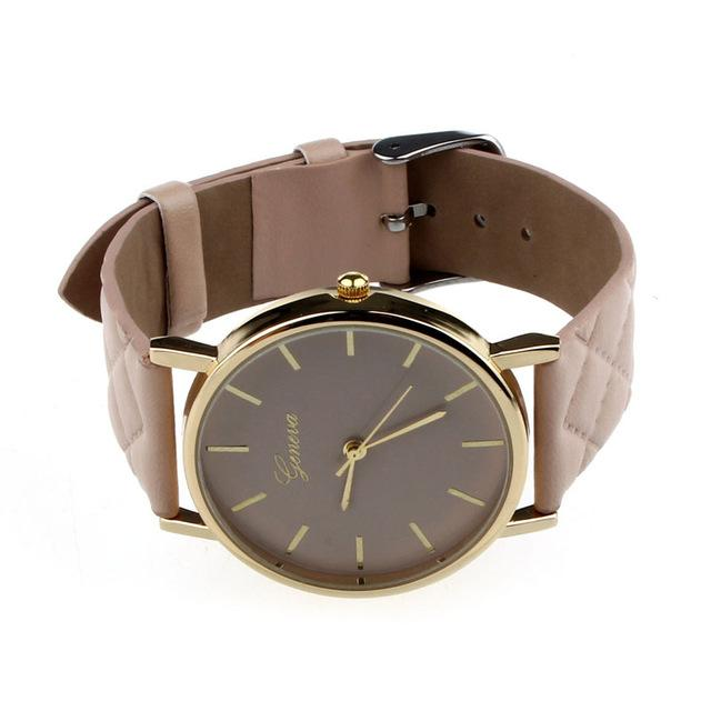 Watches-Khaki-PU Leather Casual Watch by Geneva for any Vegan Lifestyle