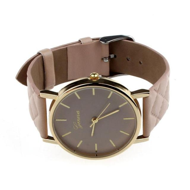 Watches-khaki-PU Leather Casual Wrist Watch by Geneva for a Woman's Vegan Lifestyle