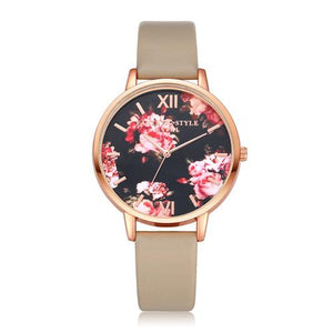 Watches-Khaki-PU Leather Floral Background Watch for a Woman's Vegan Lifestyle