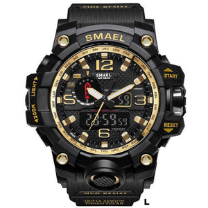 Watches-l-PU Leather Analog/LED Sports Watch by Smael for a Man's Vegan Lifestyle