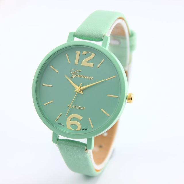 Watches-Mint Green-PU Leather Wrist Watch by Geneva for a Woman's Vegan Lifestyle