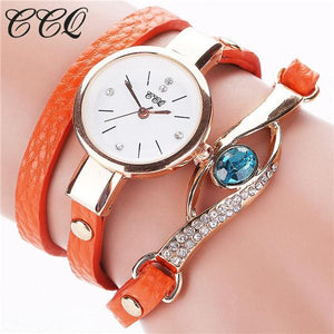Watches-orange-PU Leather Faux Gemstone Bracelet Watch by CCQ for a Woman's Vegan Lifestyle