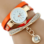 Watches-Orange-PU Leather Rhinestone Bracelet Watch for a Woman's Vegan Lifestyle