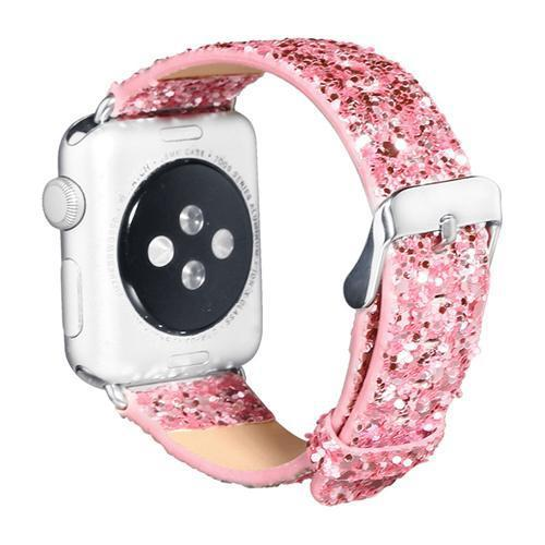 Watches-Pink-For 38MM-PU Leather Apple Watch Strap for a Woman's Vegan Lifestyle