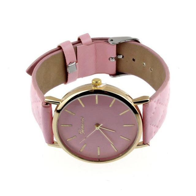 Watches-pink-PU Leather Casual Wrist Watch by Geneva for a Woman's Vegan Lifestyle