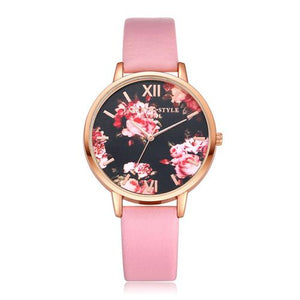 Watches-Pink-PU Leather Floral Background Watch for a Woman's Vegan Lifestyle