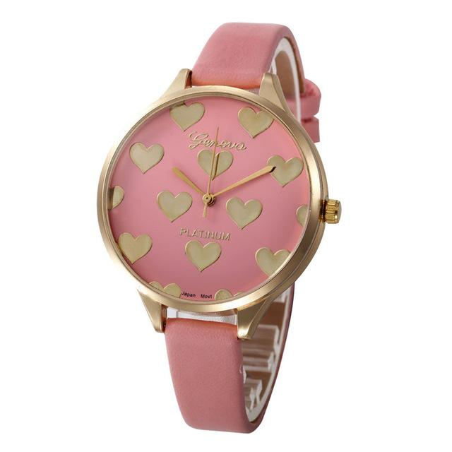 Watches-Pink-PU Leather Heart Pattern Watch by Geneva for a Woman's Vegan Lifestyle