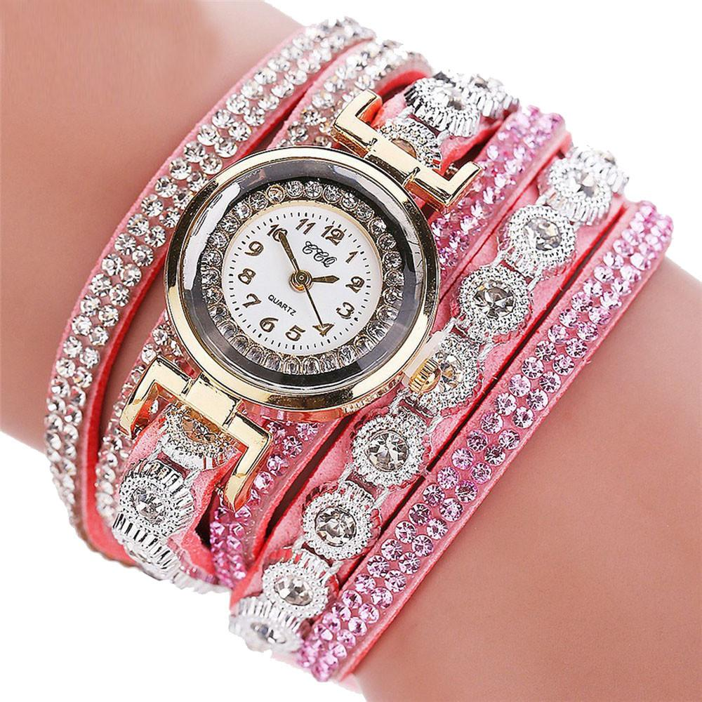 Watches-Pink-PU Leather Multi-layer Rhinestone Bracelet Wrist Watch by CCQ for a Woman's Vegan Lifestyle
