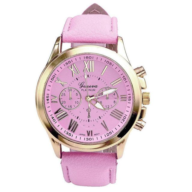 Watches-Pink-PU Leather Roman Numerals Watch by Geneva for a Woman's Vegan Lifestyle