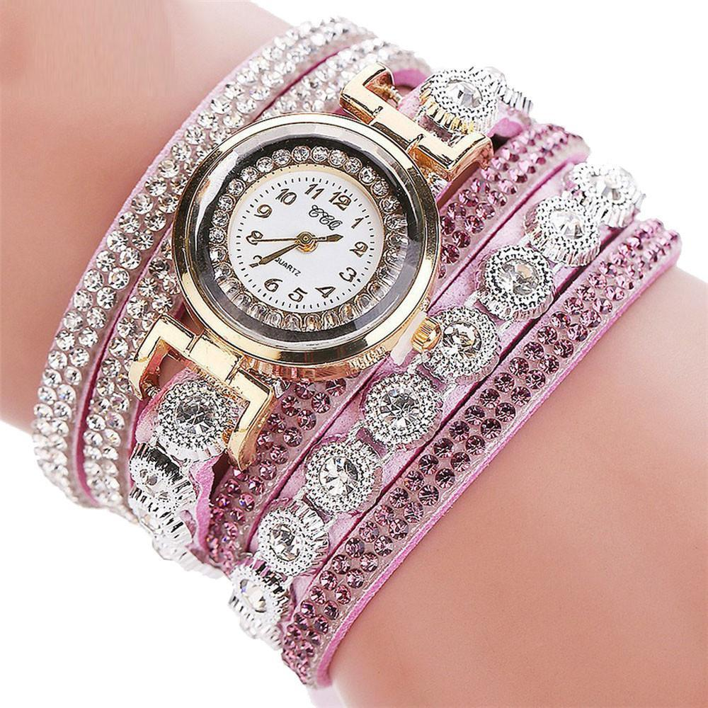 Watches-Purple-PU Leather Multi-layer Rhinestone Bracelet Wrist Watch by CCQ for a Woman's Vegan Lifestyle