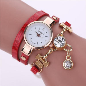 Watches-red-PU Leather Bracelet & Crystal Pendant Watch by Carude for a Woman's Vegan Lifestyle