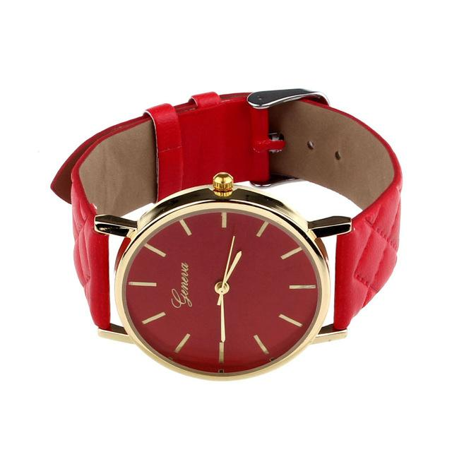 Watches-Red-PU Leather Casual Watch by Geneva for any Vegan Lifestyle