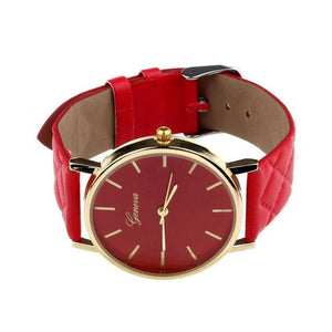 Watches-red-PU Leather Casual Wrist Watch by Geneva for a Woman's Vegan Lifestyle