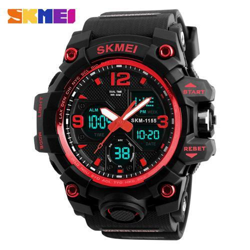 Watches-Red-PU Leather Digital Sports Watch by Skmei for a Man's Vegan Lifestyle