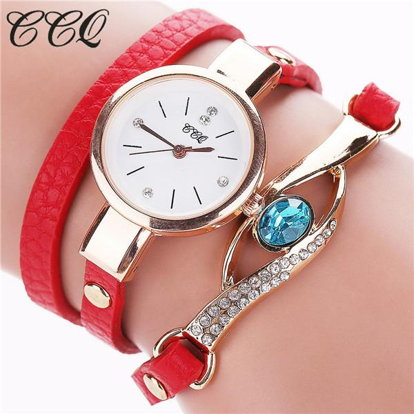 Watches-red-PU Leather Faux Gemstone Bracelet Watch by CCQ for a Woman's Vegan Lifestyle