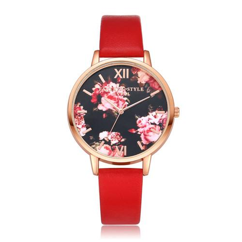 Watches-Red-PU Leather Floral Background Watch for a Woman's Vegan Lifestyle