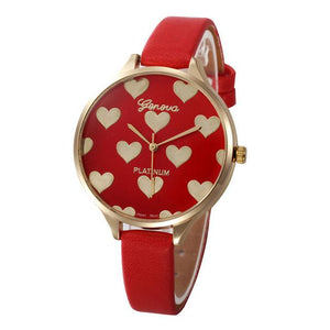 Watches-Red-PU Leather Heart Pattern Watch by Geneva for a Woman's Vegan Lifestyle