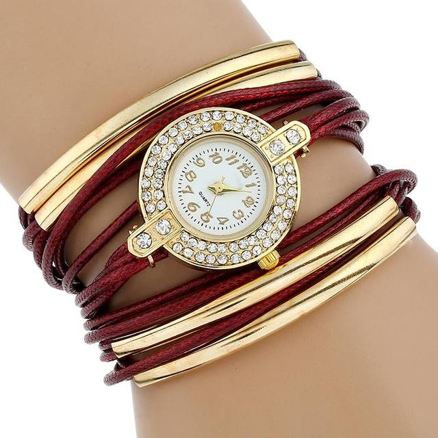Watches-Red-PU Leather Multi-Layer Bracelet Watch for a Woman's Vegan Lifestyle