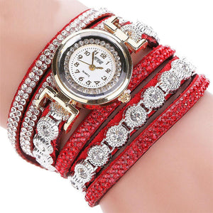 Watches-Red-PU Leather Multi-layer Rhinestone Bracelet Wrist Watch by CCQ for a Woman's Vegan Lifestyle