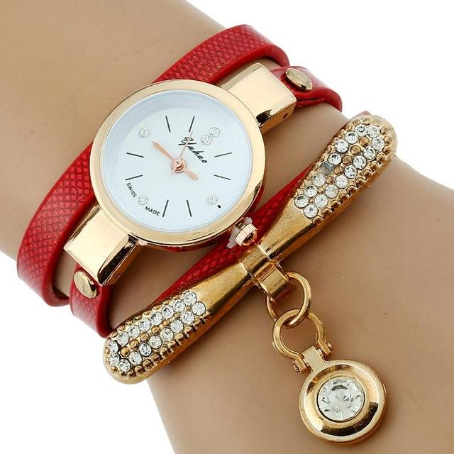 Watches-Red-PU Leather Rhinestone Bracelet Watch for a Woman's Vegan Lifestyle