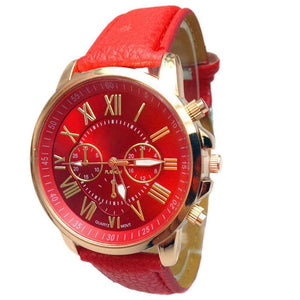 Watches-Red-PU Leather Roman Numeral Wrist Watch for any Vegan Lifestyle