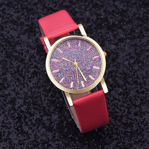 Watches-Red-PU Leather Speckled Effect Rhinestone Watch for a Woman's Vegan Lifestyle
