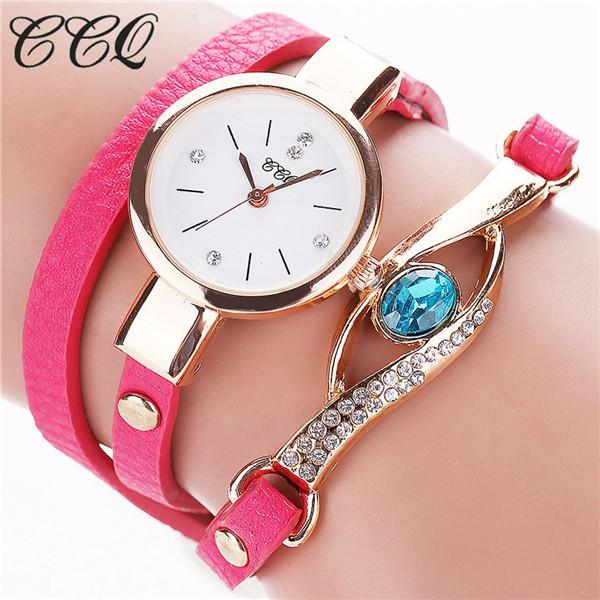 Watches-rose-PU Leather Faux Gemstone Bracelet Watch by CCQ for a Woman's Vegan Lifestyle