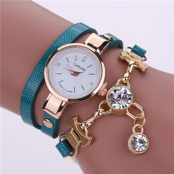 Watches-sky blue-PU Leather Bracelet & Crystal Pendant Watch by Carude for a Woman's Vegan Lifestyle