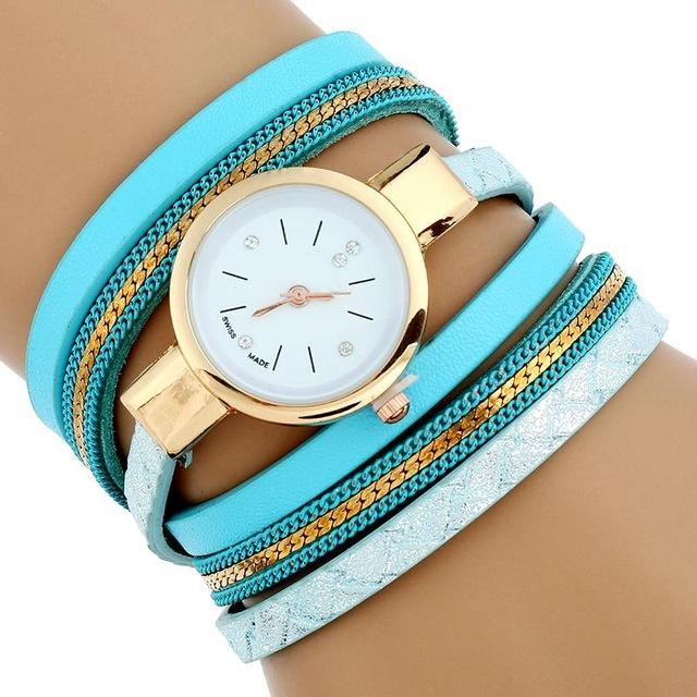 Watches-Sky Blue-PU Leather Bracelet Wrist Watch for a Woman's Vegan Lifestyle