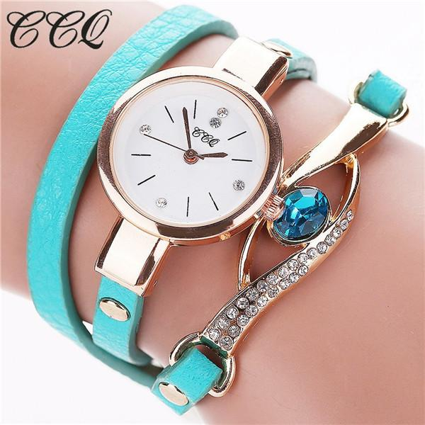 Watches-sky blue-PU Leather Faux Gemstone Bracelet Watch by CCQ for a Woman's Vegan Lifestyle
