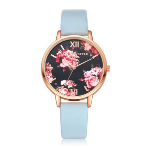 Watches-Sky Blue-PU Leather Floral Background Watch for a Woman's Vegan Lifestyle