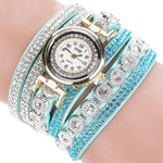Watches-Sky Blue-PU Leather Multi-layer Rhinestone Bracelet Wrist Watch by CCQ for a Woman's Vegan Lifestyle