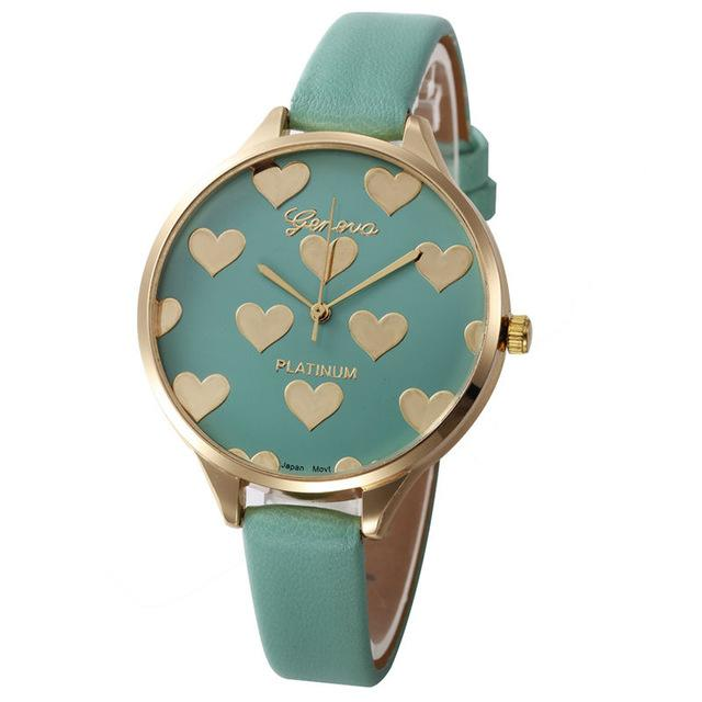 Watches-Turquoise-PU Leather Heart Pattern Watch by Geneva for a Woman's Vegan Lifestyle