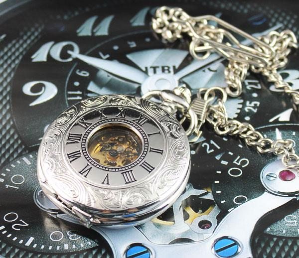 Watches-Antique Stainless Steel Roman Numerals Pocket Watch for any Vegan Lifestyle