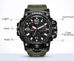 Watches-PU Leather Analog/LED Sports Watch by Smael for a Man's Vegan Lifestyle