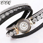 Watches-PU Leather Multi-layer Rhinestone Bracelet Wrist Watch by CCQ for a Woman's Vegan Lifestyle