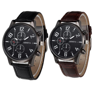 Watches-PU Leather Sports Watch by Geneva for a Man's Vegan Lifestyle