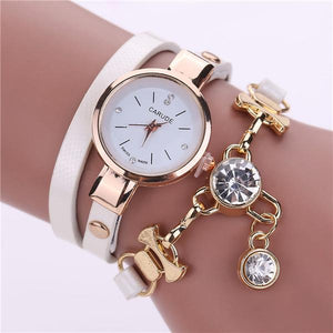 Watches-white-PU Leather Bracelet & Crystal Pendant Watch by Carude for a Woman's Vegan Lifestyle