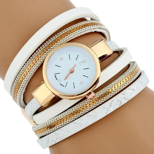 Watches-White-PU Leather Bracelet Wrist Watch for a Woman's Vegan Lifestyle