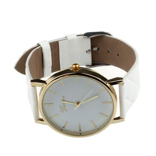 Watches-white-PU Leather Casual Wrist Watch by Geneva for a Woman's Vegan Lifestyle