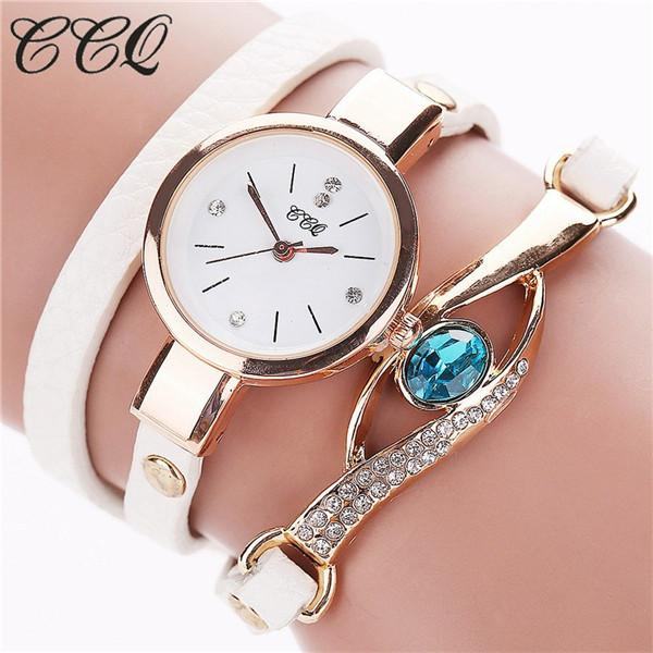 Watches-white-PU Leather Faux Gemstone Bracelet Watch by CCQ for a Woman's Vegan Lifestyle