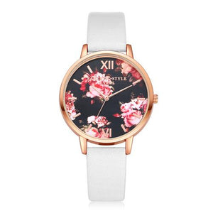 Watches-White-PU Leather Floral Background Watch for a Woman's Vegan Lifestyle