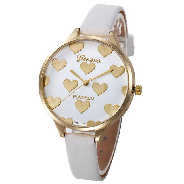 Watches-White-PU Leather Heart Pattern Watch by Geneva for a Woman's Vegan Lifestyle